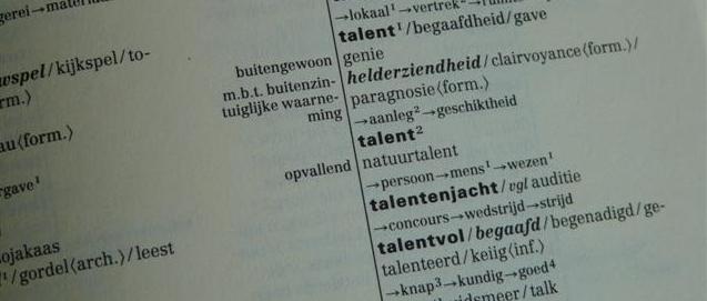Talent in van Dale synoniemenwoordenboek